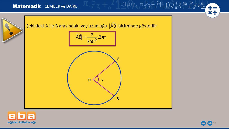 13 Şekildeki A ile B arasındaki yay uzunluğu biçiminde gösterilir. Şekildeki A ile B arasındaki yay uzunluğu biçiminde gösterilir. B O ÇEMBER ve DAİRE