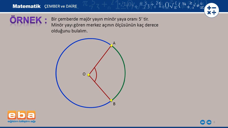 8 Bir çemberde majör yayın minör yaya oranı 5' tir. Minör yayı gören merkez açının ölçüsünün kaç derece olduğunu bulalım. B A O ÇEMBER ve DAİRE