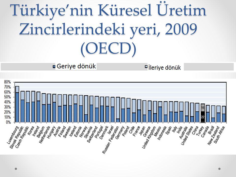 Türkiye'nin Küresel Üretim Zincirlerindeki yeri, 2009 (OECD)