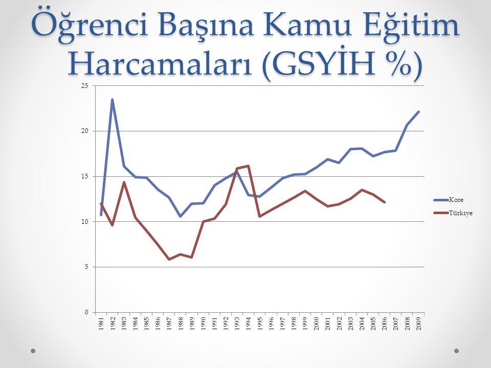 Öğrenci Başına Kamu Eğitim Harcamaları (GSYİH %)