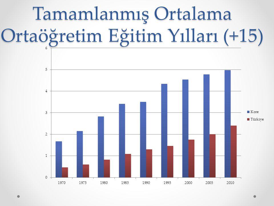 Tamamlanmış Ortalama Ortaöğretim Eğitim Yılları (+15)