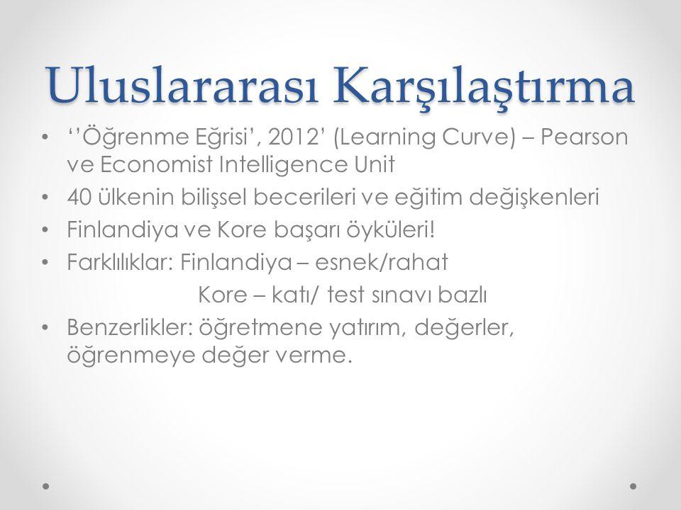 Uluslararası Karşılaştırma ''Öğrenme Eğrisi', 2012' (Learning Curve) – Pearson ve Economist Intelligence Unit 40 ülkenin bilişsel becerileri ve eğitim değişkenleri Finlandiya ve Kore başarı öyküleri.