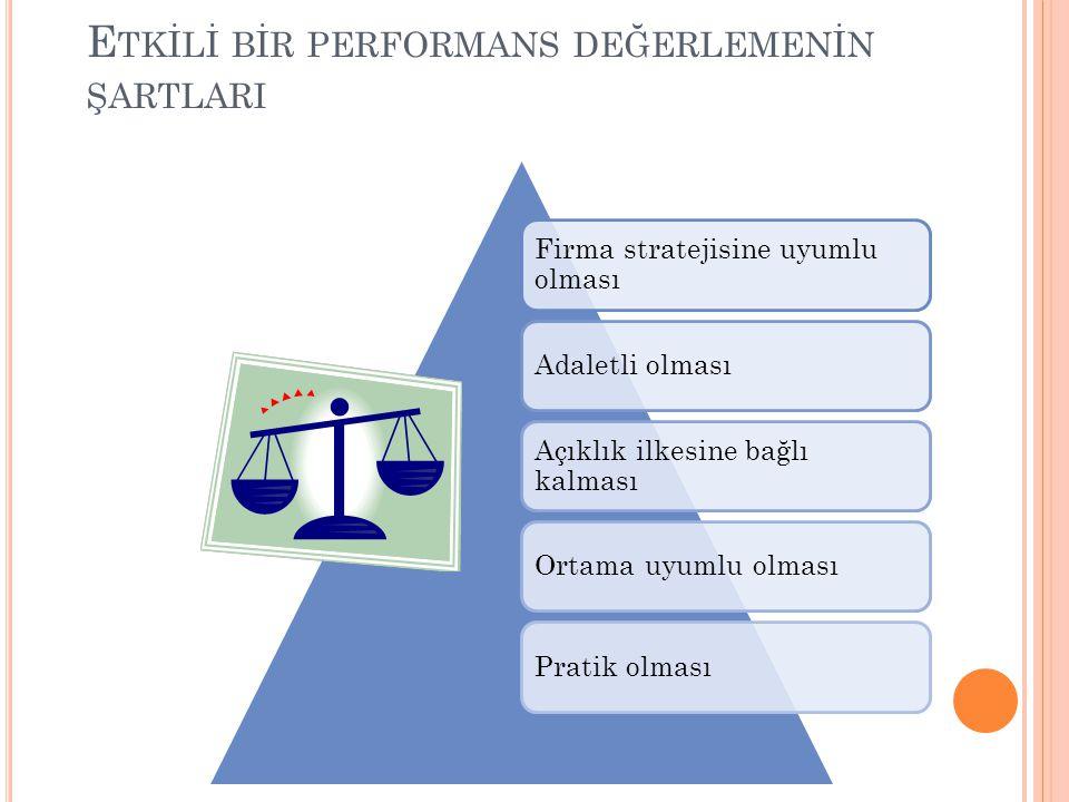 E TK İ L İ B İ R PERFORMANS DEĞERLEMEN İ N ŞARTLARI Firma stratejisine uyumlu olması Adaletli olması Açıklık ilkesine bağlı kalması Ortama uyumlu olmasıPratik olması