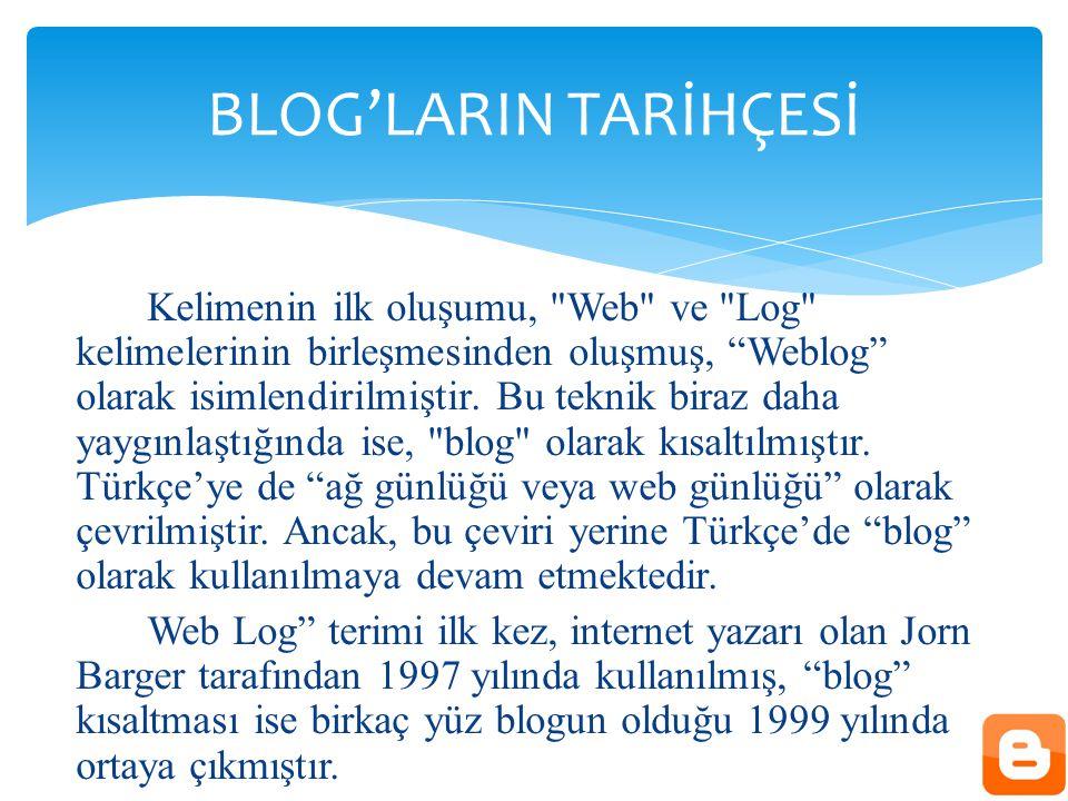 Kelimenin ilk oluşumu, Web ve Log kelimelerinin birleşmesinden oluşmuş, Weblog olarak isimlendirilmiştir.
