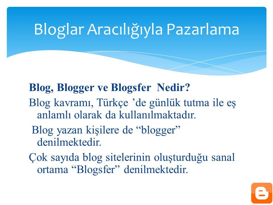 """Blog, Blogger ve Blogsfer Nedir? Blog kavramı, Türkçe 'de günlük tutma ile eş anlamlı olarak da kullanılmaktadır. Blog yazan kişilere de """"blogger"""" den"""