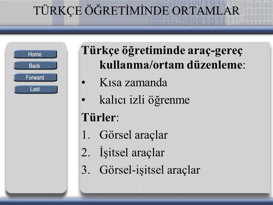 TÜRKÇE ÖĞRETİMİNDE ORTAMLAR Türkçe öğretiminde araç-gereç kullanma/ortam düzenleme: Kısa zamanda kalıcı izli öğrenme Türler: 1.Görsel araçlar 2.İşitse