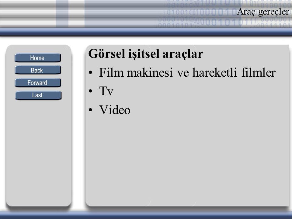 Araç gereçler Görsel işitsel araçlar Film makinesi ve hareketli filmler Tv Video