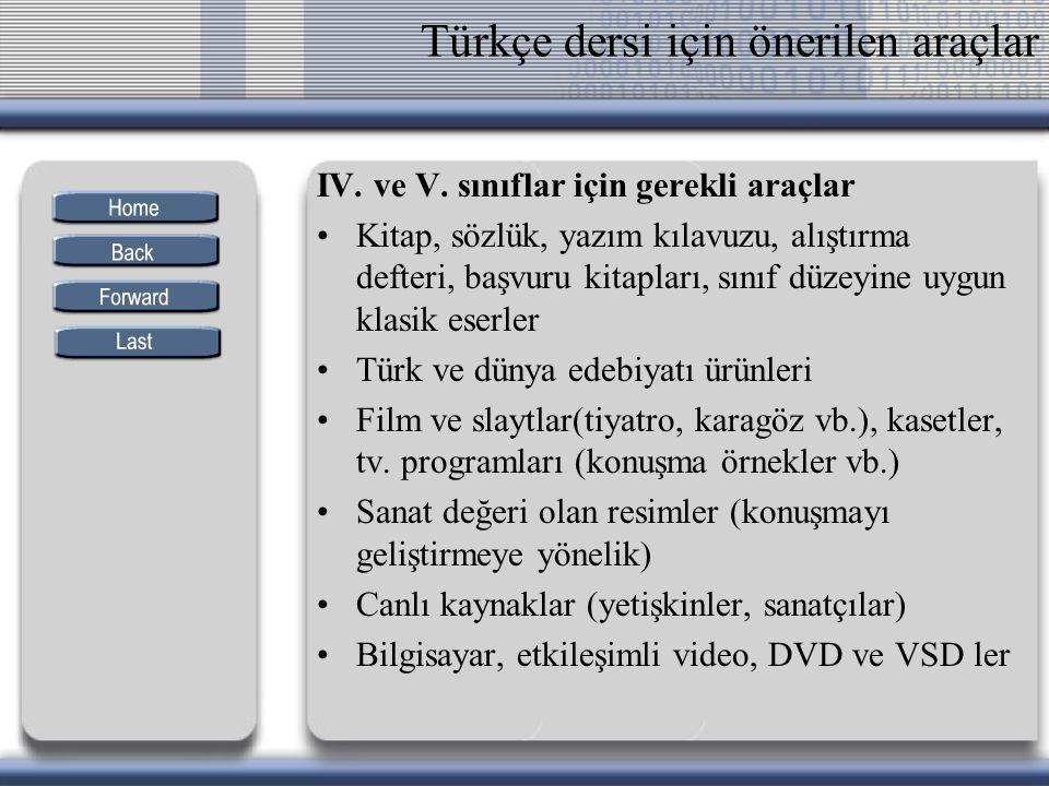 Türkçe dersi için önerilen araçlar IV. ve V. sınıflar için gerekli araçlar Kitap, sözlük, yazım kılavuzu, alıştırma defteri, başvuru kitapları, sınıf