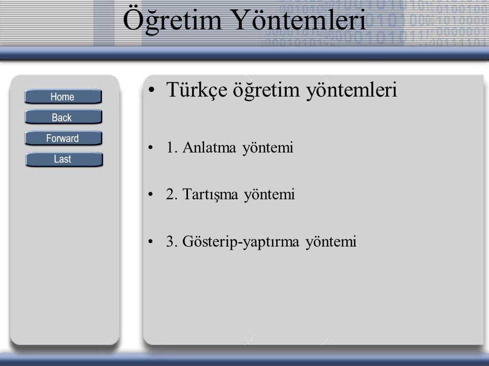 Öğretim Yöntemleri Türkçe öğretim yöntemleri 1. Anlatma yöntemi 2. Tartışma yöntemi 3. Gösterip-yaptırma yöntemi