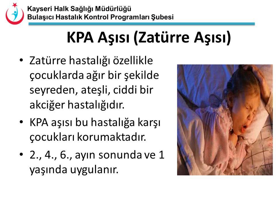 KPA Aşısı (Zatürre Aşısı) Zatürre hastalığı özellikle çocuklarda ağır bir şekilde seyreden, ateşli, ciddi bir akciğer hastalığıdır. KPA aşısı bu hasta