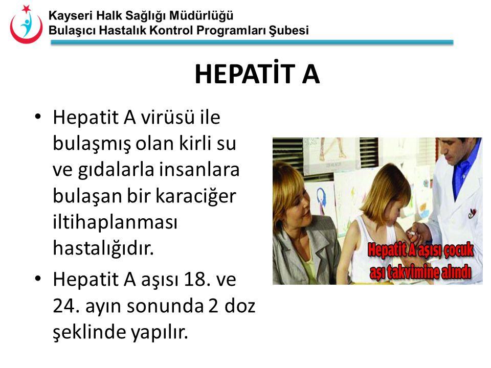 HEPATİT A Hepatit A virüsü ile bulaşmış olan kirli su ve gıdalarla insanlara bulaşan bir karaciğer iltihaplanması hastalığıdır. Hepatit A aşısı 18. ve