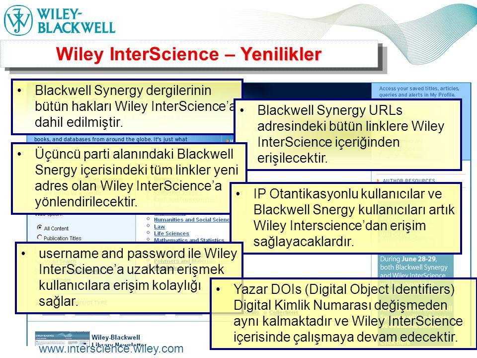 www.interscience.wiley.com Wiley InterScience üzerindeki Online Dergiler'e erişim