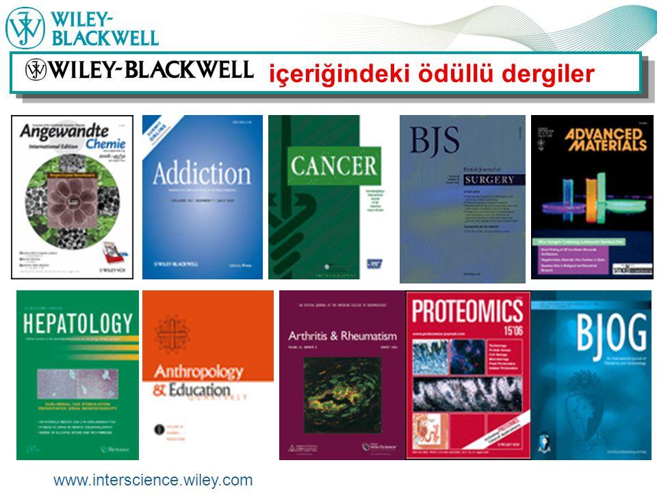 www.interscience.wiley.com Alıntı Takibi Download Citations Alıntılar yapabilmeniz için Abstract, Referenslar ve full-text makaleler , gibi bağlantılar sağlar.