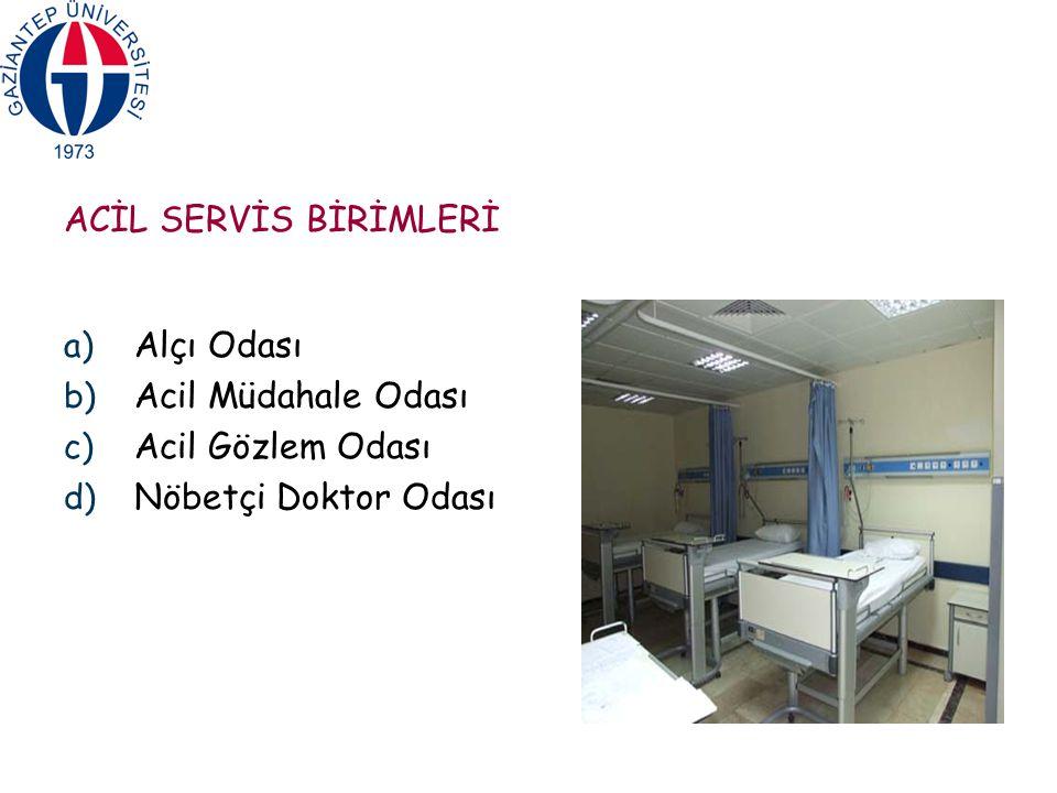 ACİL SERVİS BİRİMLERİ a) Alçı Odası b) Acil Müdahale Odası c) Acil Gözlem Odası d) Nöbetçi Doktor Odası