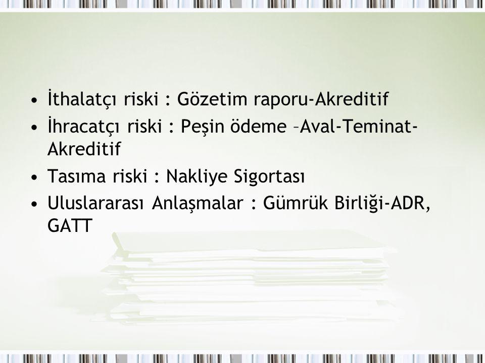 İthalatçı riski : Gözetim raporu-Akreditif İhracatçı riski : Peşin ödeme –Aval-Teminat- Akreditif Tasıma riski : Nakliye Sigortası Uluslararası Anlaşm