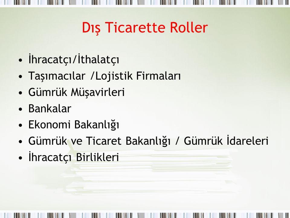 Dış Ticarette Roller İhracatçı/İthalatçı Taşımacılar /Lojistik Firmaları Gümrük Müşavirleri Bankalar Ekonomi Bakanlığı Gümrük ve Ticaret Bakanlığı / G