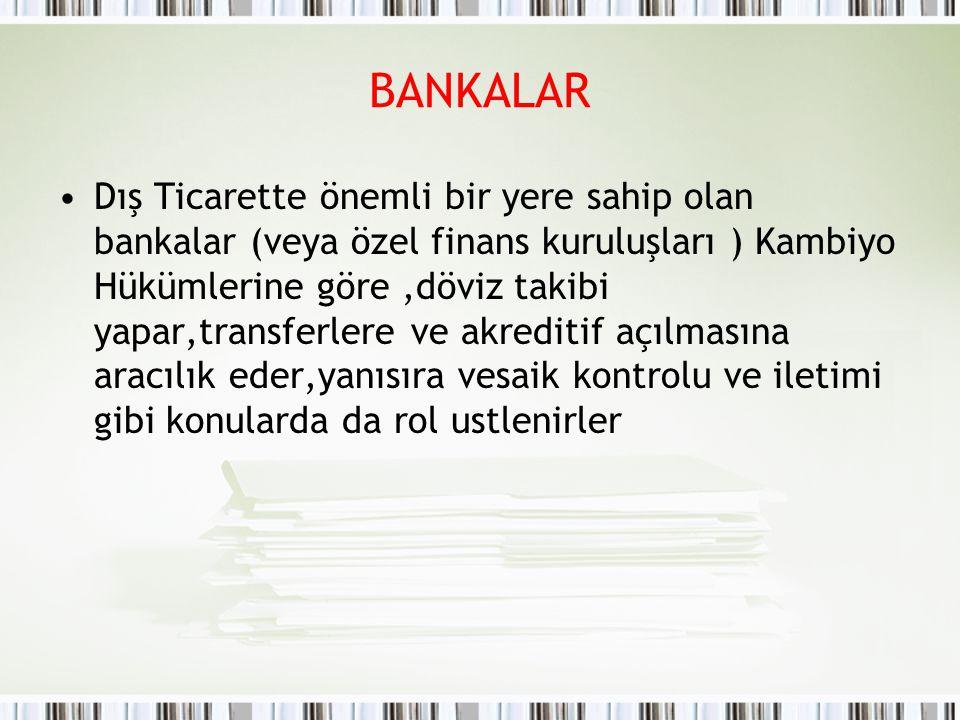 BANKALAR Dış Ticarette önemli bir yere sahip olan bankalar (veya özel finans kuruluşları ) Kambiyo Hükümlerine göre,döviz takibi yapar,transferlere ve