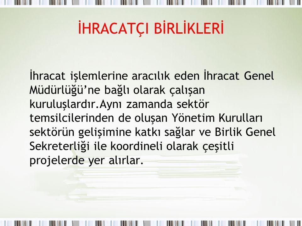 TİM (TÜRKİYE İHRACATÇILAR MECLİSİ) (www.tim.org.tr) Bakanlar Kurulu'nun 5 Temmuz 1993 tarihinde aldığı 93/4616 sayılı kararıyla kurulan Türkiye İhracatçılar Meclisi (TİM), ihracatçı birliklerin bir üst kurulu durumundadır.
