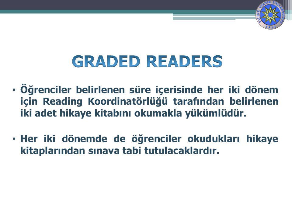 Öğrenciler belirlenen süre içerisinde her iki dönem için Reading Koordinatörlüğü tarafından belirlenen iki adet hikaye kitabını okumakla yükümlüdür.