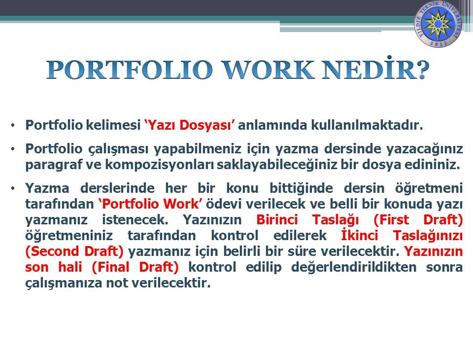 Portfolio kelimesi 'Yazı Dosyası' anlamında kullanılmaktadır.
