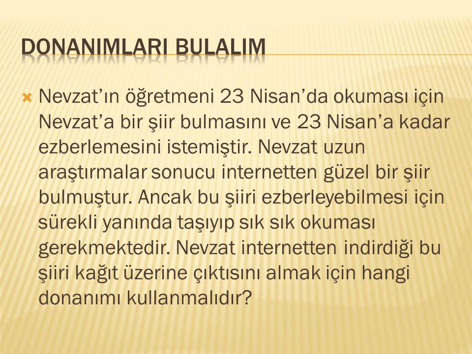  Nevzat'ın öğretmeni 23 Nisan'da okuması için Nevzat'a bir şiir bulmasını ve 23 Nisan'a kadar ezberlemesini istemiştir. Nevzat uzun araştırmalar sonu