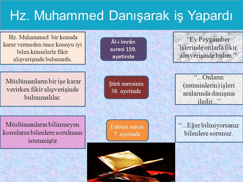 Hz. Muhammed Danışarak iş Yapardı Hz. Muhammed bir konuda karar vermeden önce konuyu iyi bilen kimselerle fikir alışverişinde bulunurdu. Müslümanların