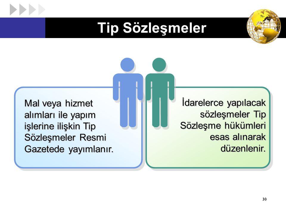 Tip Sözleşmeler 30 Mal veya hizmet alımları ile yapım işlerine ilişkin Tip Sözleşmeler Resmi Gazetede yayımlanır. İdarelerce yapılacak sözleşmeler Tip