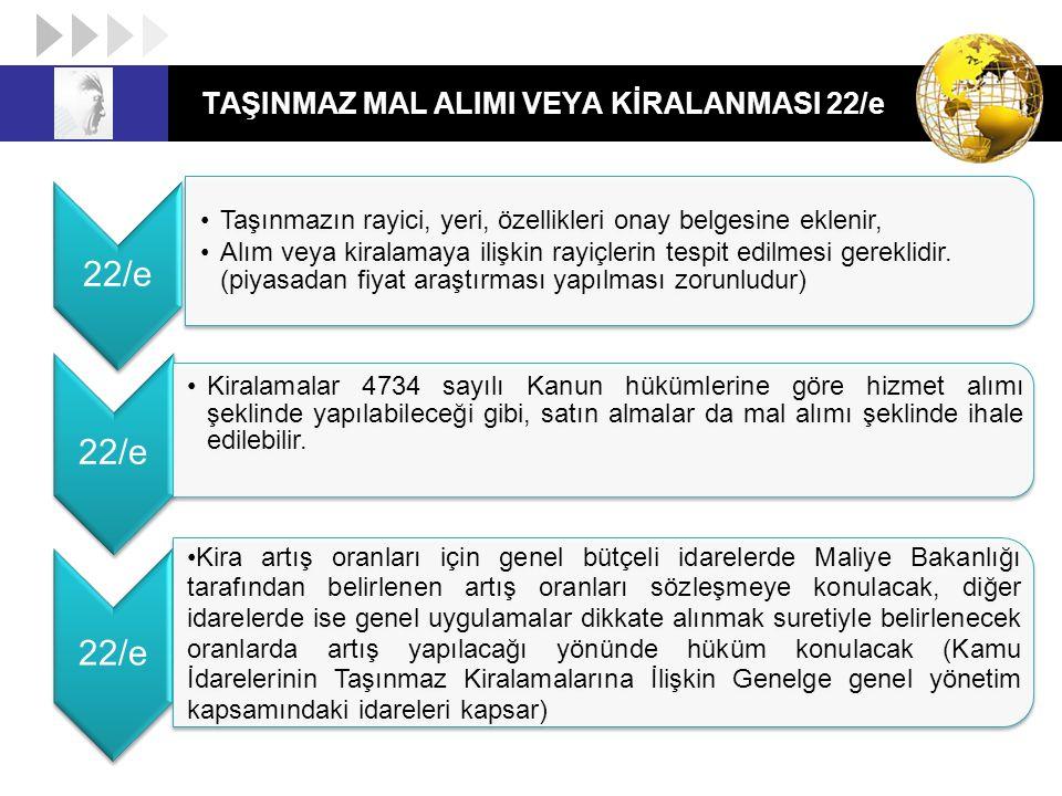 TAŞINMAZ MAL ALIMI VEYA KİRALANMASI 22/e 22/e Taşınmazın rayici, yeri, özellikleri onay belgesine eklenir, Alım veya kiralamaya ilişkin rayiçlerin tes