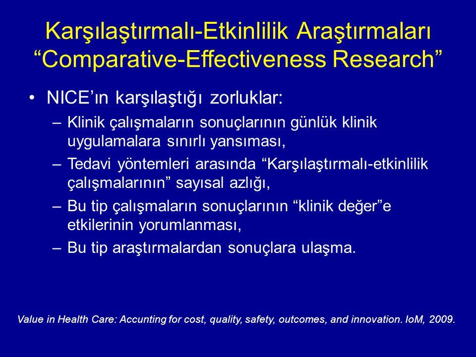 """Karşılaştırmalı-Etkinlilik Araştırmaları """"Comparative-Effectiveness Research"""" NICE'ın karşılaştığı zorluklar: –Klinik çalışmaların sonuçlarının günlük"""