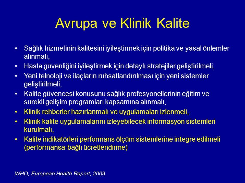 Avrupa ve Klinik Kalite Sağlık hizmetinin kalitesini iyileştirmek için politika ve yasal önlemler alınmalı, Hasta güvenliğini iyileştirmek için detayl