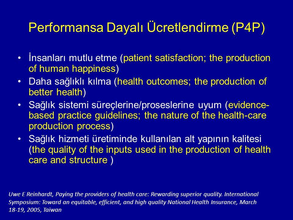 Performansa Dayalı Ücretlendirme (P4P) İnsanları mutlu etme (patient satisfaction; the production of human happiness) Daha sağlıklı kılma (health outc
