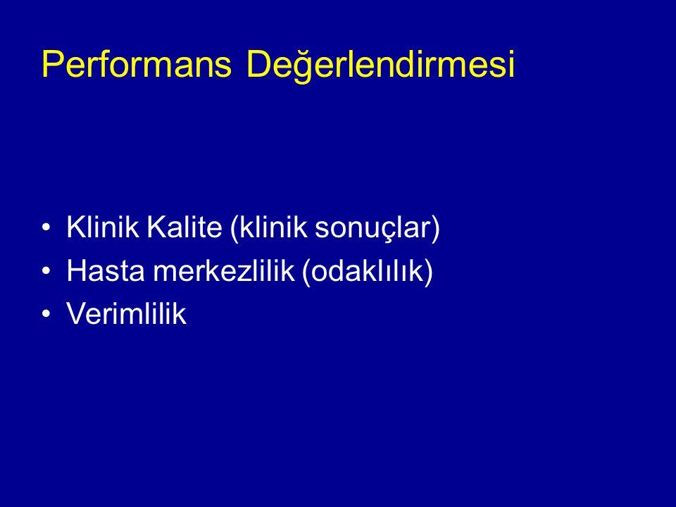 Performans Değerlendirmesi Klinik Kalite (klinik sonuçlar) Hasta merkezlilik (odaklılık) Verimlilik