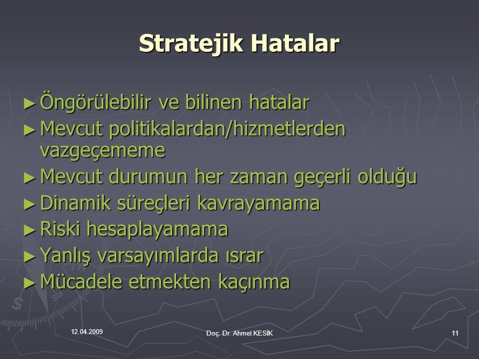 12.04.2009 Stratejik Hatalar ► Öngörülebilir ve bilinen hatalar ► Mevcut politikalardan/hizmetlerden vazgeçememe ► Mevcut durumun her zaman geçerli ol