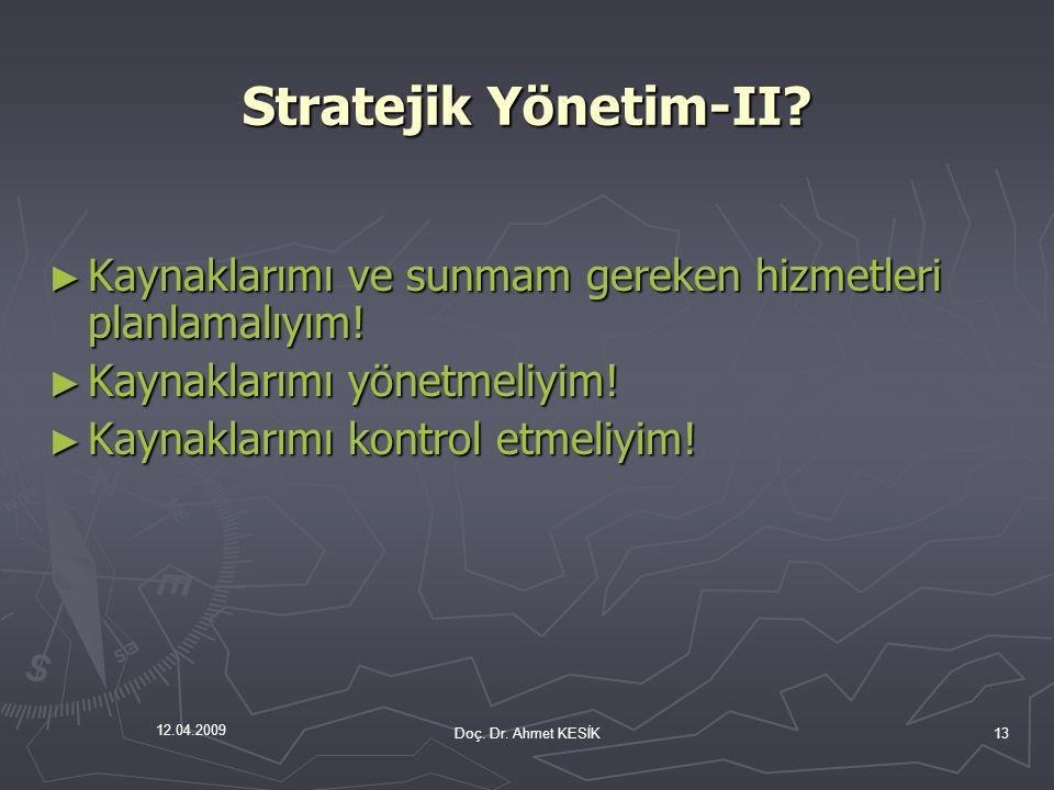 12.04.2009 Stratejik Yönetim-II? ► Kaynaklarımı ve sunmam gereken hizmetleri planlamalıyım! ► Kaynaklarımı yönetmeliyim! ► Kaynaklarımı kontrol etmeli