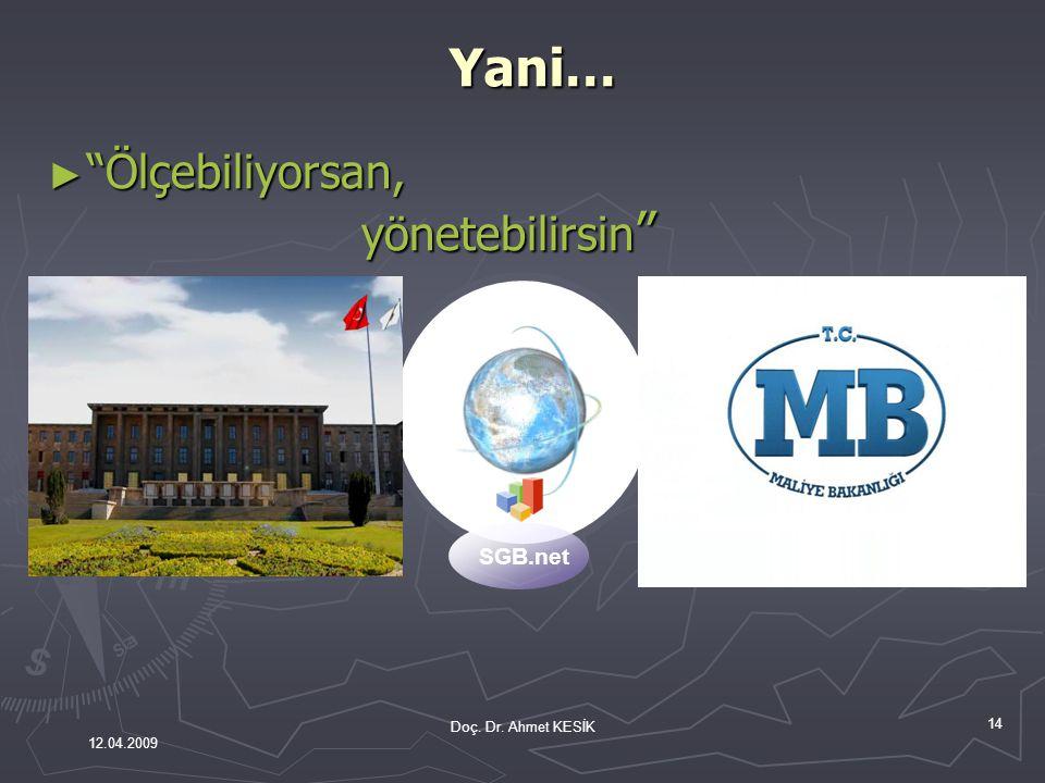 """14 SGB.net ► """"Ölçebiliyorsan, yönetebilirsin """" Doç. Dr. Ahmet KESİK 12.04.2009Yani…"""