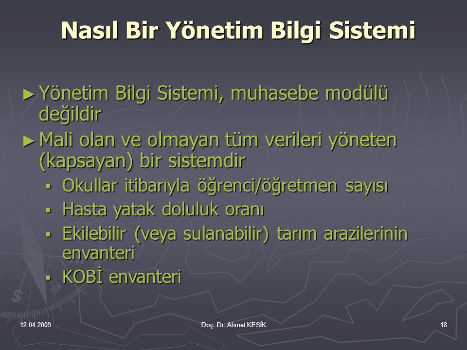 12.04.2009Doç. Dr. Ahmet KESİK18 ► Yönetim Bilgi Sistemi, muhasebe modülü değildir ► Mali olan ve olmayan tüm verileri yöneten (kapsayan) bir sistemdi