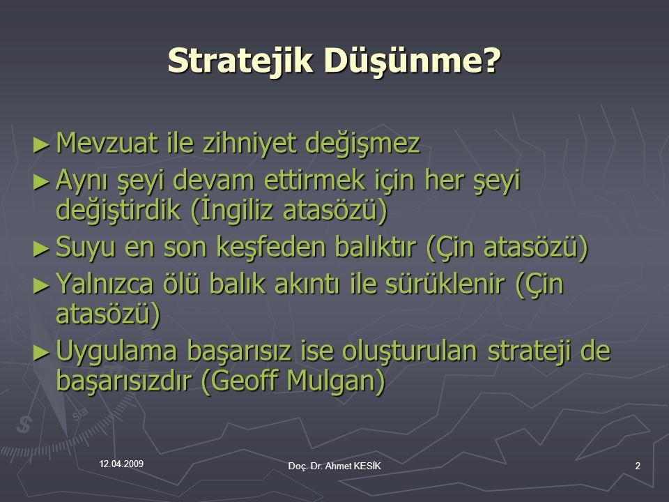 12.04.2009 Stratejik Yönetim-II.► Kaynaklarımı ve sunmam gereken hizmetleri planlamalıyım.