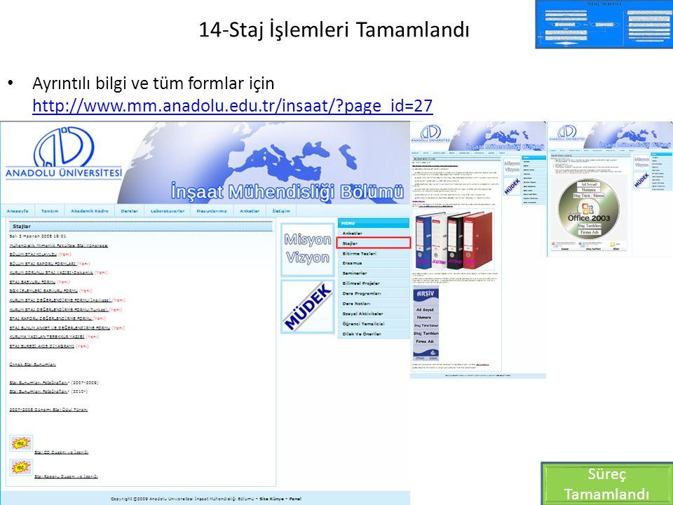 14-Staj İşlemleri Tamamlandı Ayrıntılı bilgi ve tüm formlar için http://www.mm.anadolu.edu.tr/insaat/?page_id=27 http://www.mm.anadolu.edu.tr/insaat/?