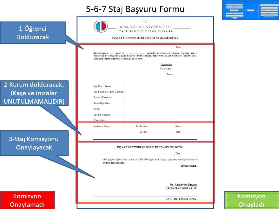 5-6-7 Staj Başvuru Formu Komisyon Onaylamadı Komisyon Onayladı 1-Öğrenci Dolduracak 2-Kurum dolduracak. (Kaşe ve imzalar UNUTULMAMALIDIR) 3-Staj Komis