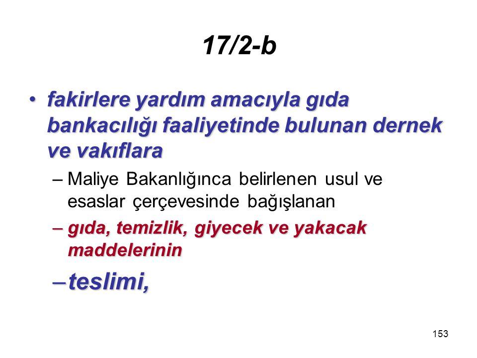 154 17/2-c Yabancı devletlerinYabancı devletlerin –Türkiye deki diplomatik temsilcilik ve konsoloslukları ile –yabancı hayır ve yardım kurumlarına, –bu maddenin 1 numaralı fıkrasında sayılan kurum ve kuruluşlara –bedelsiz olarak yapacakları –bedelsiz olarak yapacakları teslim ve hizmetlere ilişkin olarak –yapılan teslim ve hizmetler.