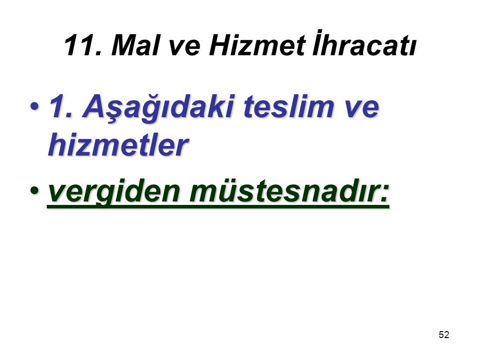 53 11/1-a İHRACAT TESLİMLERİ veİHRACAT TESLİMLERİ ve bu teslimlere ilişkin hizmetlerbu teslimlere ilişkin hizmetler,