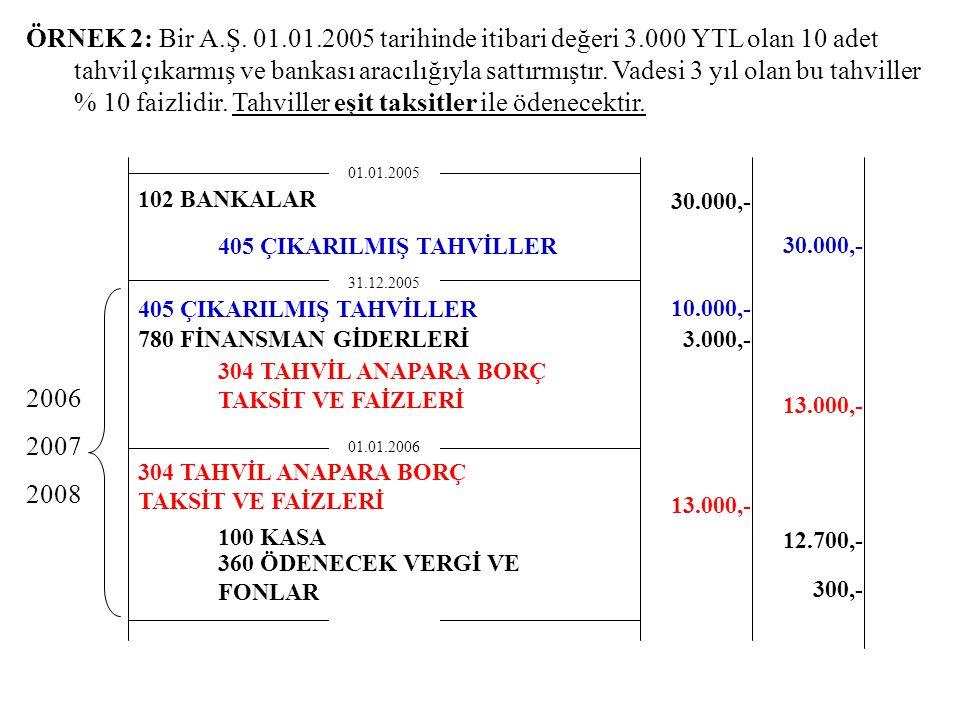 ÖRNEK 2: Bir A.Ş. 01.01.2005 tarihinde itibari değeri 3.000 YTL olan 10 adet tahvil çıkarmış ve bankası aracılığıyla sattırmıştır. Vadesi 3 yıl olan b
