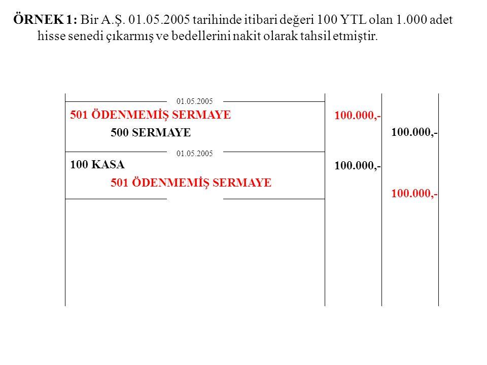 ÖRNEK 1: Bir A.Ş. 01.05.2005 tarihinde itibari değeri 100 YTL olan 1.000 adet hisse senedi çıkarmış ve bedellerini nakit olarak tahsil etmiştir. 500 S