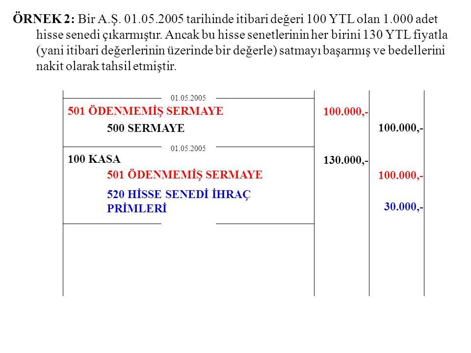 ÖRNEK 2: Bir A.Ş. 01.05.2005 tarihinde itibari değeri 100 YTL olan 1.000 adet hisse senedi çıkarmıştır. Ancak bu hisse senetlerinin her birini 130 YTL