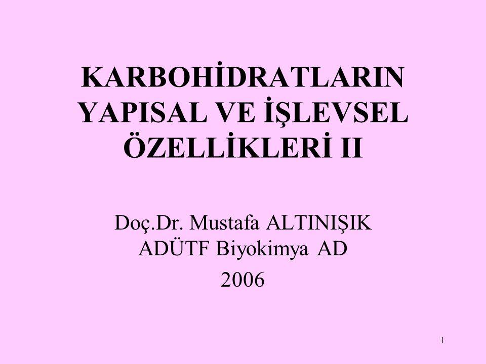 1 KARBOHİDRATLARIN YAPISAL VE İŞLEVSEL ÖZELLİKLERİ II Doç.Dr. Mustafa ALTINIŞIK ADÜTF Biyokimya AD 2006