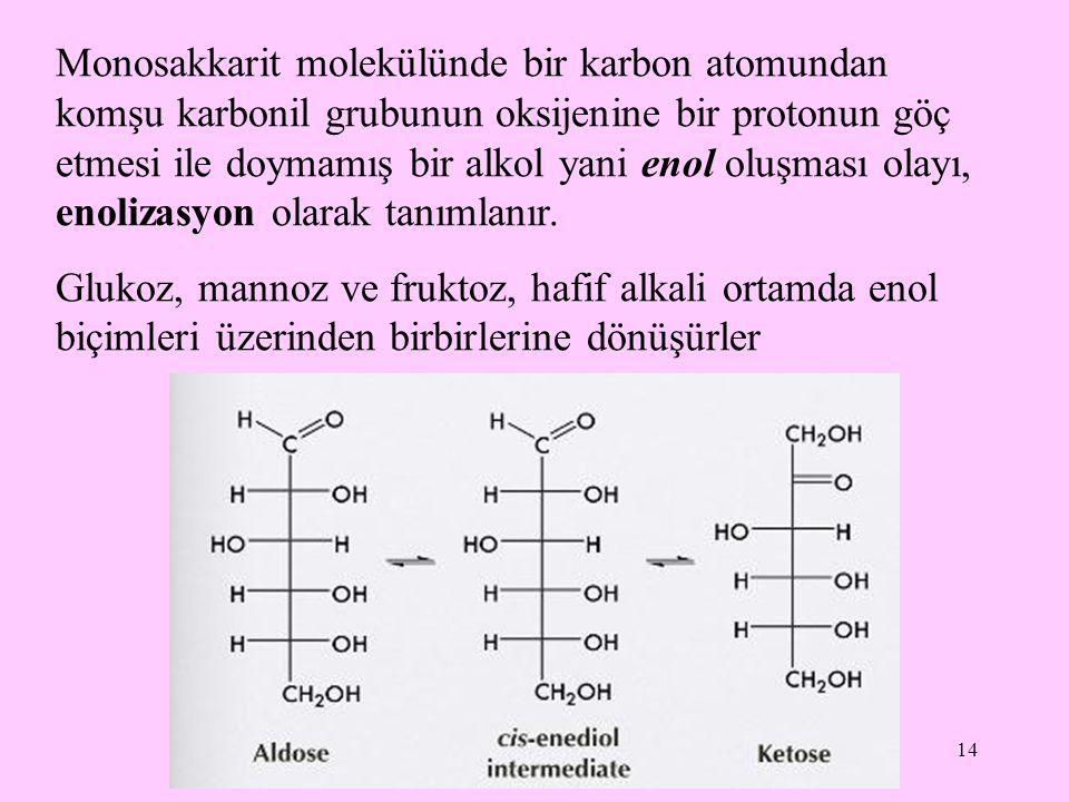 14 Monosakkarit molekülünde bir karbon atomundan komşu karbonil grubunun oksijenine bir protonun göç etmesi ile doymamış bir alkol yani enol oluşması