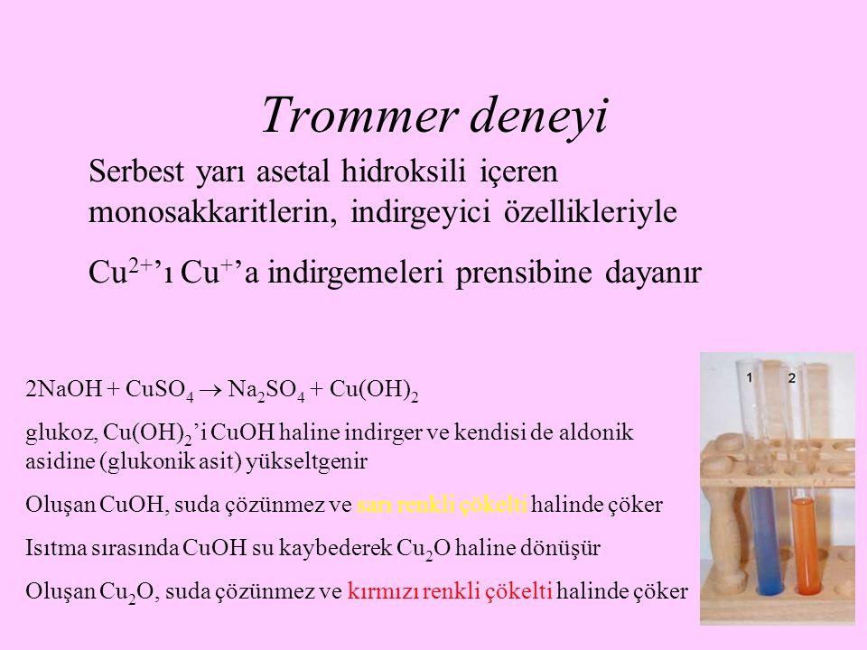 24 Trommer deneyi Serbest yarı asetal hidroksili içeren monosakkaritlerin, indirgeyici özellikleriyle Cu 2+ 'ı Cu + 'a indirgemeleri prensibine dayanı