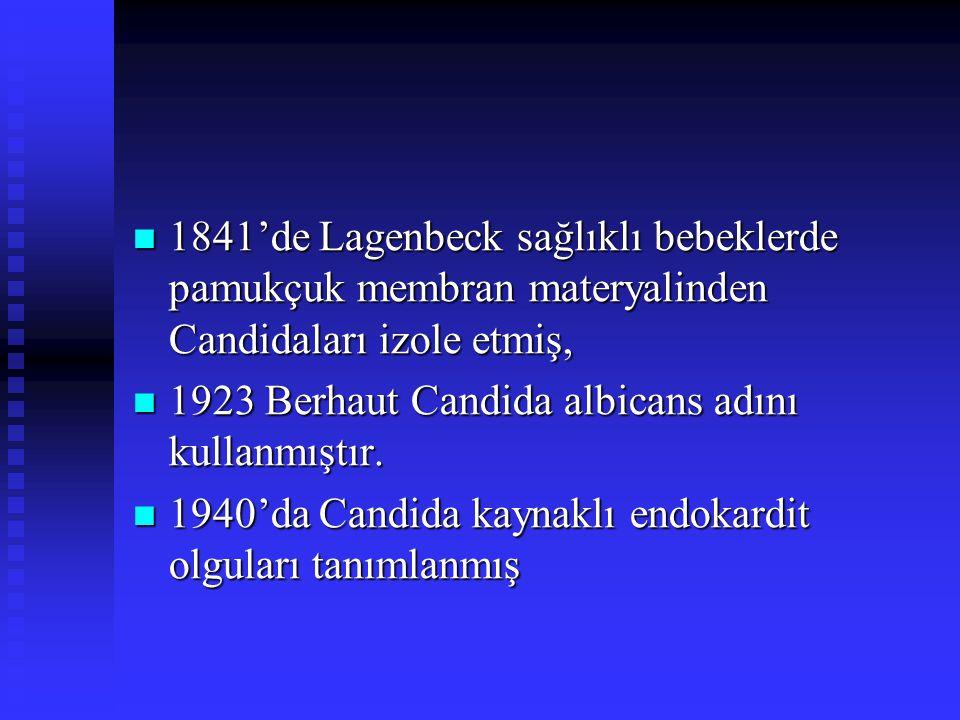 1841'de Lagenbeck sağlıklı bebeklerde pamukçuk membran materyalinden Candidaları izole etmiş, 1841'de Lagenbeck sağlıklı bebeklerde pamukçuk membran m