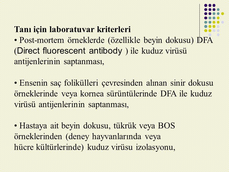 Tanı için laboratuvar kriterleri Post-mortem örneklerde (özellikle beyin dokusu) DFA ( Direct fluorescent antibody ) ile kuduz virüsü antijenlerinin saptanması, Ensenin saç folikülleri çevresinden alınan sinir dokusu örneklerinde veya kornea sürüntülerinde DFA ile kuduz virüsü antijenlerinin saptanması, Hastaya ait beyin dokusu, tükrük veya BOS örneklerinden (deney hayvanlarında veya hücre kültürlerinde) kuduz virüsu izolasyonu,
