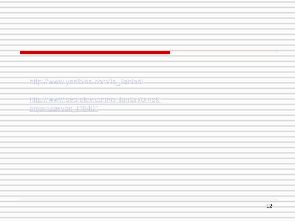12 http://www.yenibiris.com/Is_Ilanlari/ http://www.secretcv.com/is-ilanlari/ornek- organizasyon_f18401